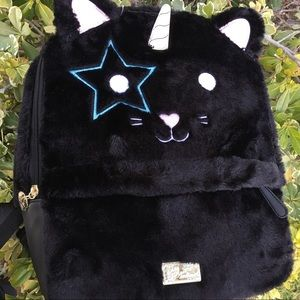 Unicorn kitty cat plush backpack
